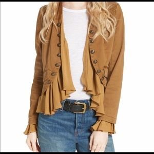 Free People aromatic Ruffle military Jacket 💛